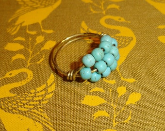 Teal and Gold Magnesite Stone Ring