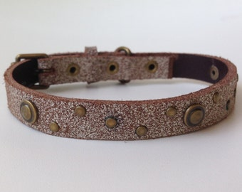 Small Brown Leather Dog Collar with Brass Hardware and Rivets