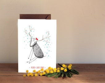 Cute Christmas Card - Hand drawn Reindeer with red hat - Holiday card, xmas card