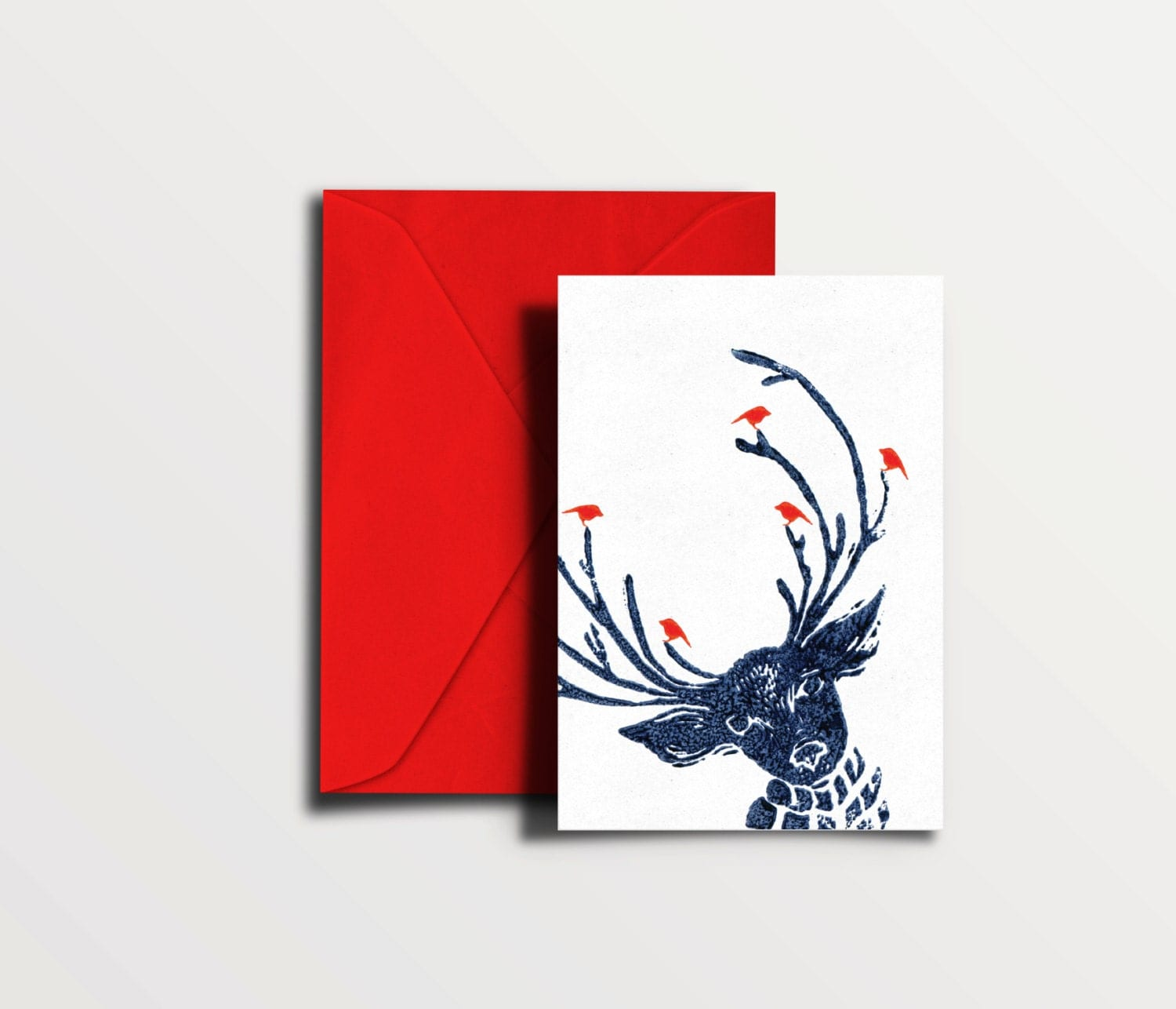 cool christmas cards reindeer with birds dark blue lino