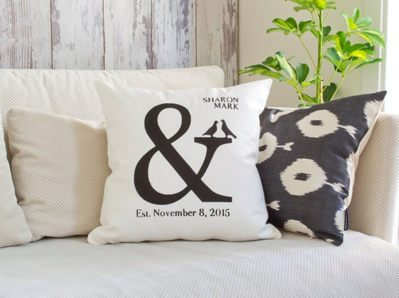 Wedding Gifts For Active Couples : Wedding Gift, Ampersand Couples Pillow, Couples Name & Established ...