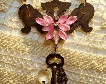 Drawer Pull Backplate Necklace, Shift Key Typewriter, Pink Butterfly, Assemblage Jewelry, Antique Typewriter Key Jewelry, Vintage Backplate