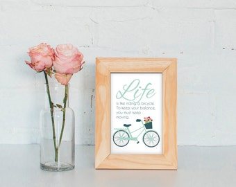 10x15 cm Printable Quote 'Life is like riding a bicycle'   instant download   positive life quote   bicycle quote   inspirational print