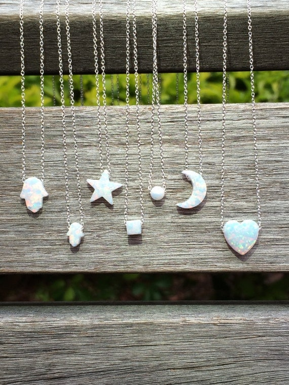 Opal Necklace in White or Blue Opal Star • Opal Hamsa • Opal Moon • Opal Heart • Opal Ball • Opal Cube • Waterproof • Opal Gifts For Her