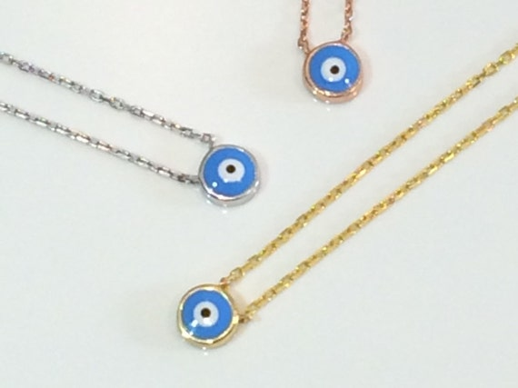 tiny evil eye necklace MEGA SALE Real Sterling Silver and Cubic Zirconia, Safe to get wet.