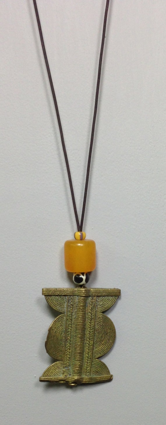 Cord Necklace African Baule Brass Pendant African Amber Chevron Handmade Handcrafted Unique Statement Yellow Amber Cord Necklace Jewelry