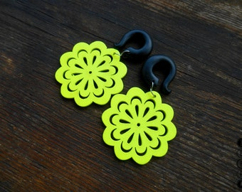Neon flower dangling ear gauges,hook summer earring ,size 4,5,6,8,10,12,14,16,18,20 mm,6g,4g,2g,0g,00g,3/16,1/4,1/2,5/16,9/16,5/8,3/4,7/8""