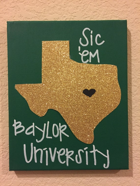 baylor univeristy canvas wall art by canvasglitterlady on etsy