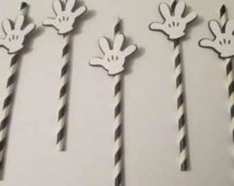 Mickey Mouse Clubhouse Party Decorations!  Mickey party straws! Mickey Gloves