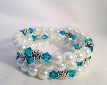 December birthstone bracelet, Blue Zircon birthstone bracelet, December jewelry, Blue Zircon jewelry, Swarovski crystal bracelet