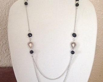 Chain necklace, Black necklace, Black bead necklace, necklace black, beaded necklace