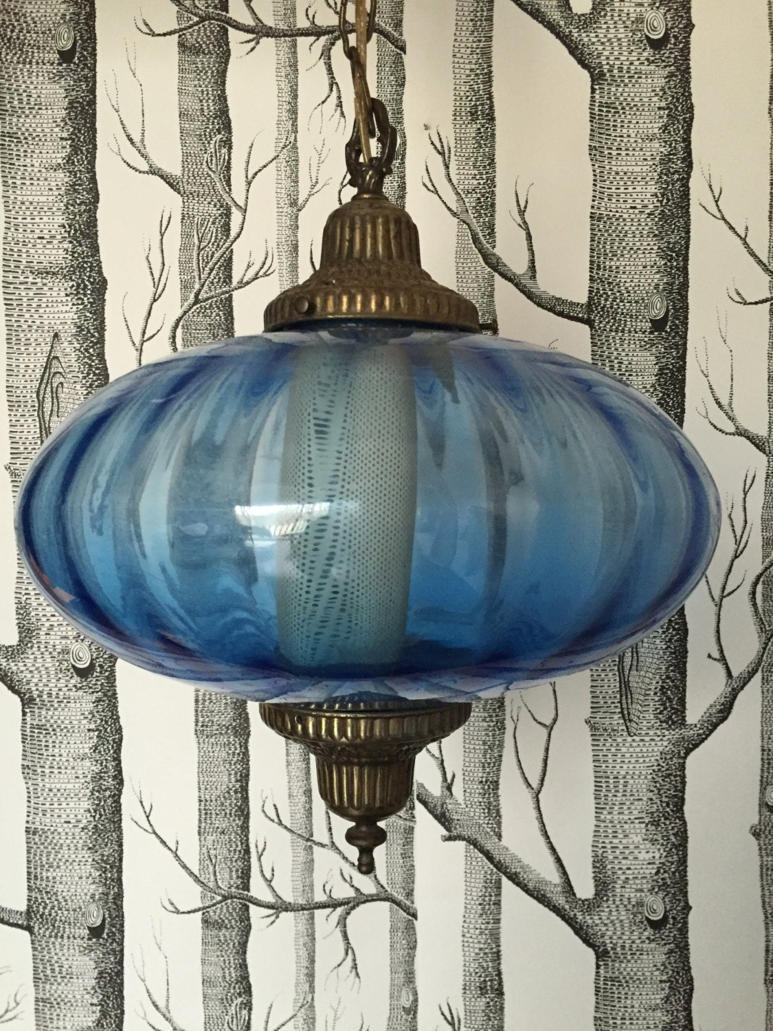 Vintage Globe Blue Glass Swag Lamp With Brass 1960s Retro