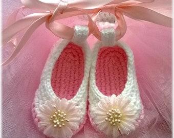 Custom Order Girls Handmade Crochet Baby Ballerina Pink Ballet Slippers Newborn-12mos