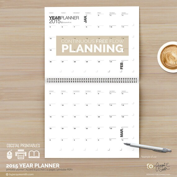 Printable Continuous Planner and Calendar 2015 Digital A4 and 8.5x11 ...