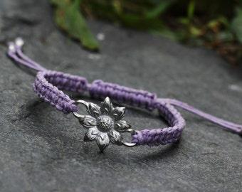 Artisan Pewter Flower Connector Charm Lavender Hemp Adjustable Macrame Bracelet
