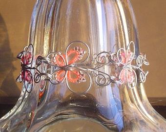 """7 1/4"""" - 8 1/4 Pink Butterfly Bracelet"""