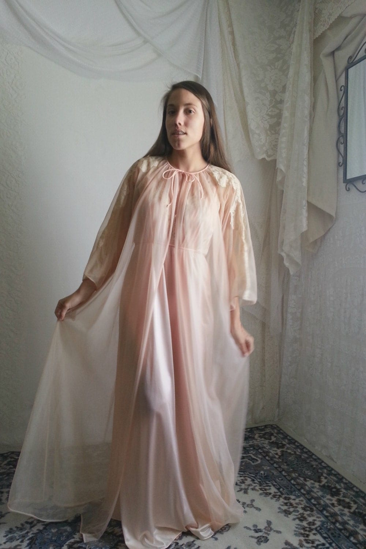 Honeymoon Peignoir, peach, sheer nightgown, sexy ling… - Gem