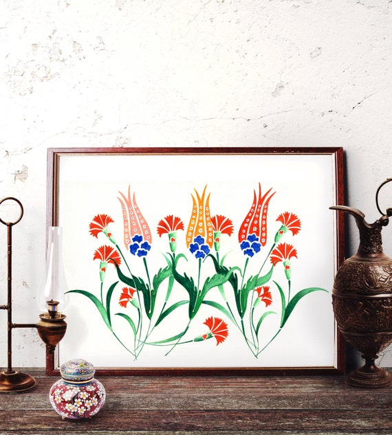 Traditional Turkish Ottoman Red Flower Home Decor Mosaic: Ottoman Tulip Motif Watercolor Painting Turkish Red Tulip