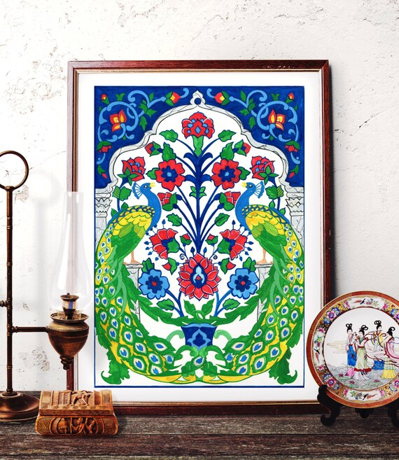 Peacock Watercolor Art Traditional Turkish Peacock Painting