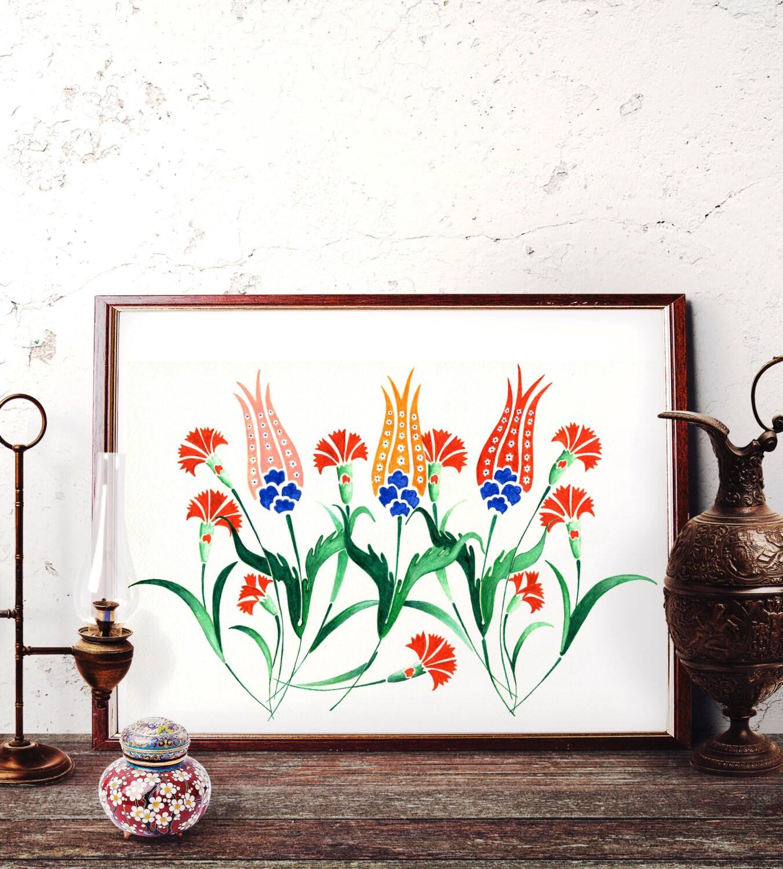 Traditional Ottoman Tulip Watercolor Wall Art Turkish Floral: Ottoman Tulip Motif Watercolor Painting Turkish Red Tulip