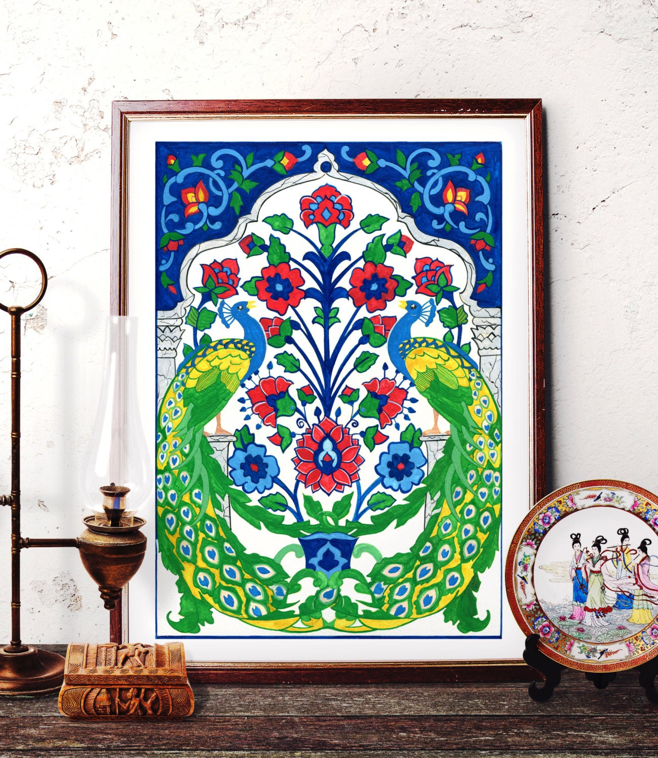 Turkish Home Decor: Peacock Watercolor Art Traditional Turkish Peacock Painting
