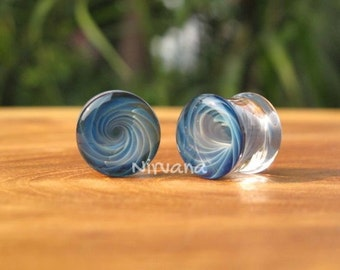 "Exotic Blue Glass Vortex Plugs - One Pair (2 pieces) Pyrex Gauges 00g 7/16"" 1/2"" 9/16"" 5/8"" 9.5 mm 10 mm 11.1 mm 12.7 mm 14 mm 16 mm"