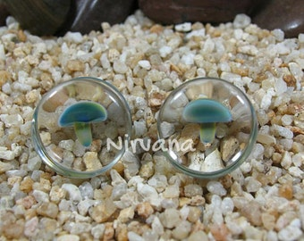"Exotic Blue Mushroom Plugs Glass 4g 2g 0g 00g 7/16"" 1/2"" 9/16"" 5/8"" 3/4"" 1"" 5 mm 6 mm 8 mm 10 mm 12 mm 14 mm 16 mm 18 mm 20 mm 25 mm"