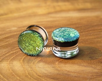 "Green Gold Dichroic Glass Plugs 10g 8g 6g 4g 2g 0G 00g  7/16"" 1/2"" 9/16"" 5/8"" 3/4"" 7/8"" 1"" 2.5 mm 3 mm 4 mm 5 mm 6 mm - 25 mm"