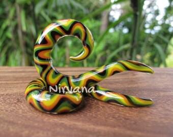 """Rasta Snake Pattern Thai Spirals Glass 10g 8g 6g 4g 2g 0g 00g 7/16"""" 1/2"""" 9/16"""" 5/8"""" 2.5 mm 3 mm 4 mm 5 mm 6 mm 8 mm 10 mm 12 mm 14 mm 16 mm"""