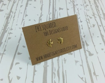 Gold Doves Stud Earrings - Birds; Swallows; Simple; Dainty; Delicate; Tiny; Small; Geometric; Minimalistic; Favor; Gift