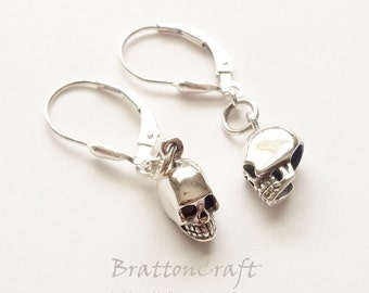 Small Sterling Silver Skull Earrings - Silver Skull Earrings - Skull Earrings - Halloween Earrings - Day of the Dead Earrings