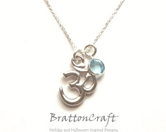 5/8 Inch Silver Om Necklace with Birthstone - Aum Necklace - Yoga Necklace - Birthstone Necklace - Spiritual Necklace - Epsteam