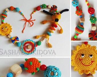 Dog N2 nursing necklace with toy - Teething necklace - Breastfeeding Necklace - Crochet Necklace - Gift for Babywearing Moms