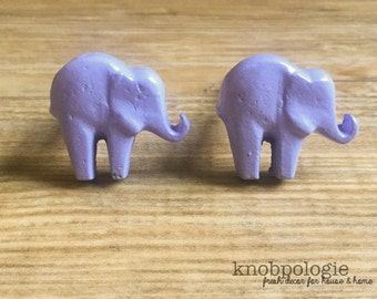 SET OF 2 - French Lilac or Custom Color Cast Iron Elephant Knob - Baby Elephant Drawer Pull - Zoo Animal Theme - Nursery decor