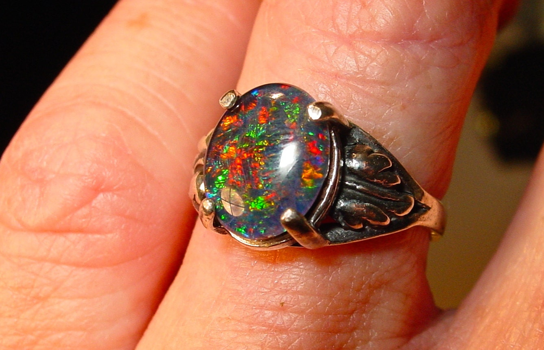 Opal Engagement Ring 12x10mm Opal Natural Australian