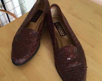 Brazilian 80s leather woven flat
