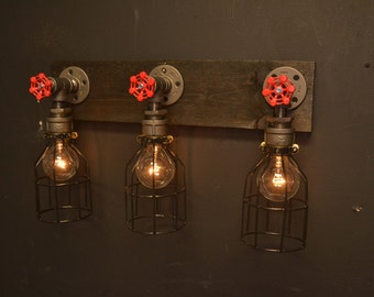 Reclaimed wood light - bathroom lighting - steel light - steampunk light - wood vanity light - restaurant light - farm light - wood light