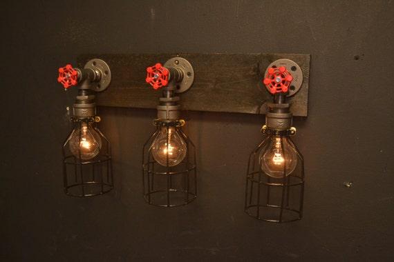 online retailer 67315 66590 Reclaimed wood light – bathroom lighting – steel light – steampunk...