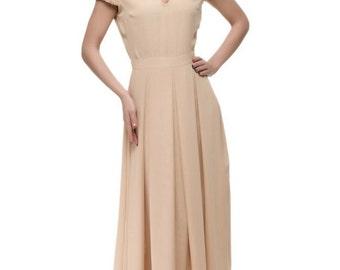 Cute Feminine Dress Chiffon Long Dress Evening Beige Dress Bridesmaids.