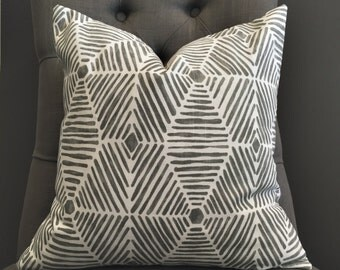 Gray Pillow Cover, Gray Ikat Pillow Cover - FYNN