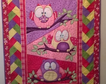 Pink Owls Child's Blanket