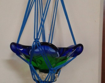 "20% OFF Polycord Macrame plant hanger 42"" / pot holder / Bird feeder /blue  Medium sized  hanging planter  indoor outdoor"