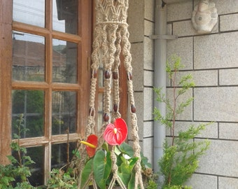 "Free shipping - 62"" Large jute macrame Natural plant hanger / pot holder/  vintage style hanging planter/ indoor ,outdoor/ Bird feeder."