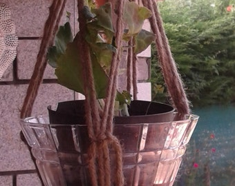 a jute macrame plant hanger / plant holder / pot holder /  bird feeder / small hanging planter indoor/ outdoor rope planter natural planter
