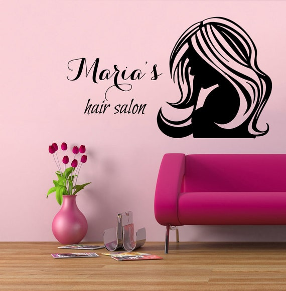 Wall decals fashion girl woman hairdressing by - Vitrine salon de coiffure ...