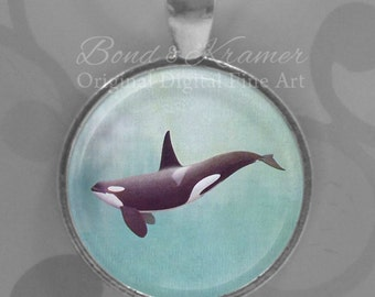 Gift Set - Orca Whale Spirit Animal Pendant & Descriptive Bookmark ~ Whale necklace ~ Orca ~ Ocean pendant