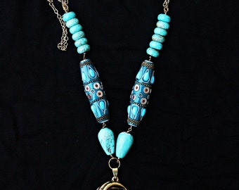 Turquoise Tribal Long Necklace - Gypsy Jewelry - Statement Necklace - Boho Jewelry - Bohemian Necklace - Turquoise Necklace