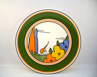 "Vintage Clarice Cliff Plate ""poplar"",Clarice Cliff Plate,Wedgewood Plate, Bone China Plate"