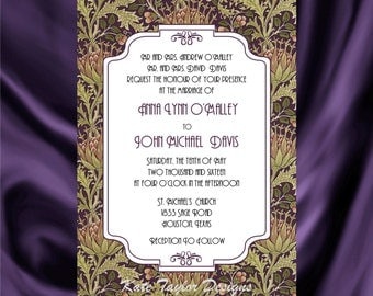 Art Nouveau Art Deco Wedding Invitation & RSVP - William Morris Design 3
