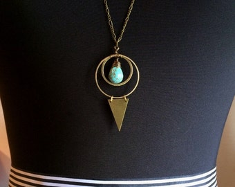 Long Brass Geometric Necklace // Turquoise Gemstone // Triangle Sacred Geometry // Moon Astrology Occult Witchy  // Gold Geometric jewelry